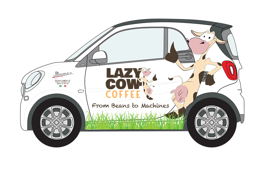 Lazy cow coffee branded car